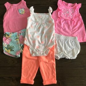 (3) 2pc! Carter's Baby Girl 6m outfit bundle!